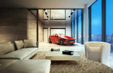 Voiture de luxe en appartement